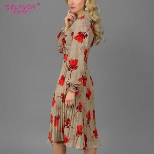 Image 2 - S. Lezzet Vintage v yaka baskı evaze elbise zarif uzun kollu bahar sonbahar elbise kadın rahat kadın pilili elbise