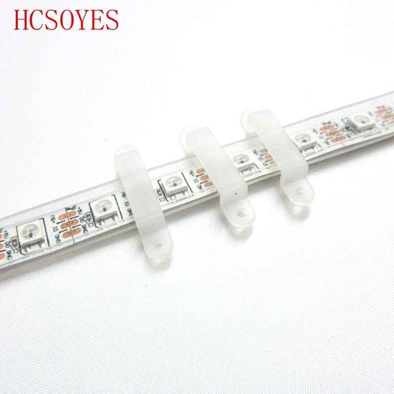 50/100 sztuk 8mm 10mm 12mm klip silikonowy złącze LED + śruba do mocowania elastyczne SMD 5050 3528 RGB RGBW pojedynczy kolorowy pasek LED