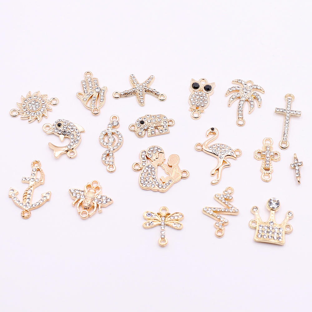 10pcs Gold Cross Shaped Connectors Charms With Rhinestone Animal Connectors Components For DIY Jewelry Making Wholesale Price