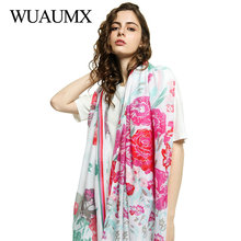 Wuaumx 2019 Spring Ethnic Scarf Women Floral Cotton Hijab Scarf For Female Head Scarves Leisure Shawls And Wraps 180*90cm sjaal цена 2017