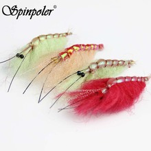 SPINPOLER 4Pcs Big Shrimp Fly Fishing Hooks Saltwater Bait Fish Flies Artificial Shrimps Prawn Bait Trout Fly Fishing Lures