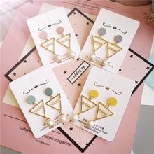 Korea Handmade Cute Alloy Triangle Imitation Pearl Women Drop Earrings Dangle Fashion Jewelry Accessories-JQD5