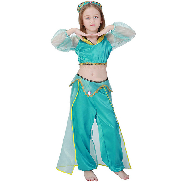 Girls Aladdin L& Jasmine Princess Costumes Cosplay Children Belly Dance Costumes Kids Halloween Party Indian Princess  sc 1 st  AliExpress.com & Girls Aladdin Lamp Jasmine Princess Costumes Cosplay Children Belly ...