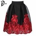 DayLook Chic Malla Falda de Tul Bordado Floral Del Tutú Skater Falda Hasta La Rodilla Faldas Plisadas Para Mujer Elegante Más El Tamaño SL Saia