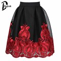 DayLook Chic Mesh Tulle Skirt Floral Embroidery Tutu Skater Skirt Knee-Length Pleated Skirts Womens Elegant Plus Size S-L Saia