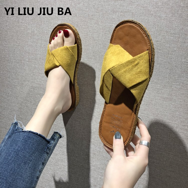 New Women Slippers Suede Summer Beach Shoes Female Slippers Flat Casual Solid Flip Flops Sandals Outdoor Sweet shoes women **889New Women Slippers Suede Summer Beach Shoes Female Slippers Flat Casual Solid Flip Flops Sandals Outdoor Sweet shoes women **889