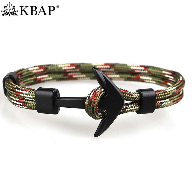 2017 New Hot Women Men S Black Anchor Nautical Bracelet Punk Survival Rope Wrap Charm Bracelets