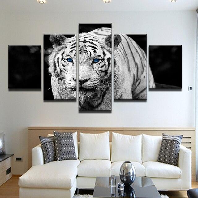 5 חתיכה ציור קליגרפיה כחול עיני נמר לבן בד ציור הדפסי קיר אמנות תמונות מודרני פוסטר עיצוב בית מסגרת