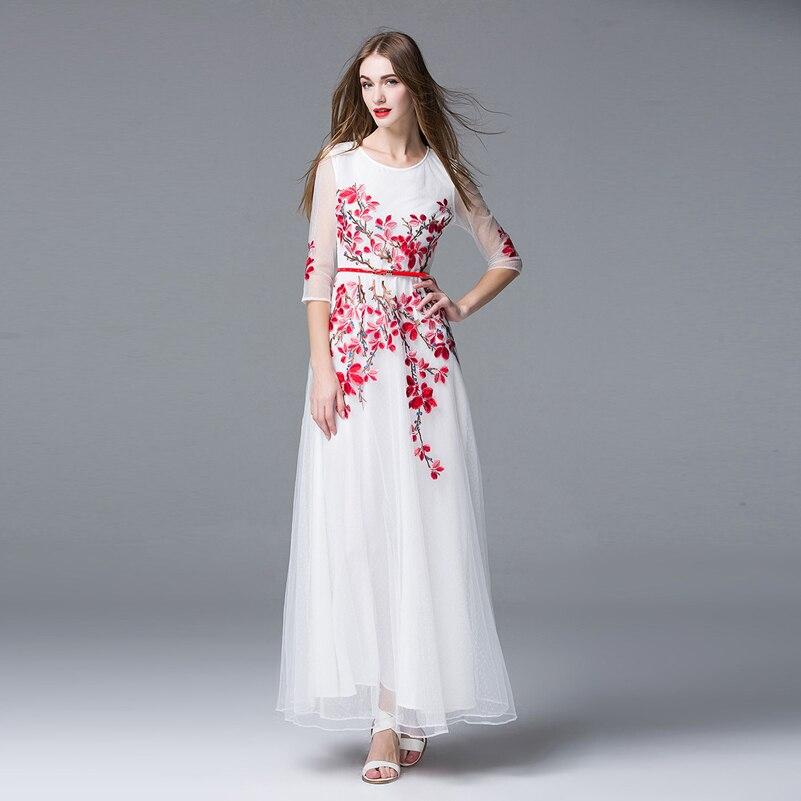 Alta Qualidade Mais Recente Moda 2016 no verão das Mulheres Vestido Maxi  Pista Branco Malha Bordado Formal Do Partido Vestido Longo fdd407d2e22d