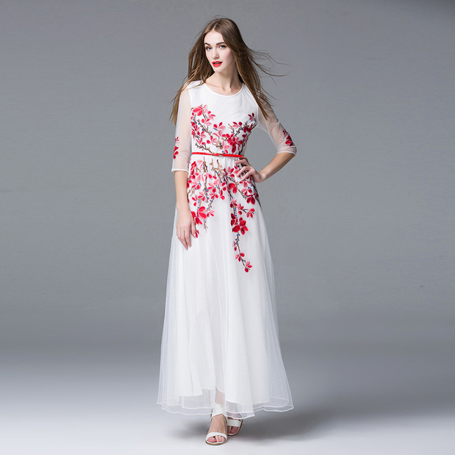 White Mesh Embroidery Formal Party Long Dress