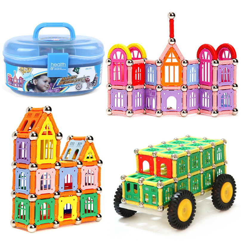 Cute Toy Children Magnetic Building Blocks 278pcs Educational Toy Storage Box Magnetic Stick Magnetic Building Block JM001 цена