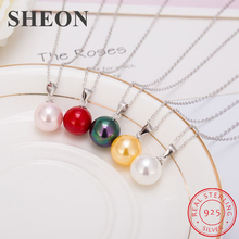 лучшая цена SHEON 5 Colors 100% 925 Sterling Silver Simple Round Pearl Necklaces & Pendants For Women Sterling Silver Jewelry New Arrivals