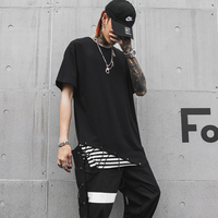 Short sleeve Men stylish t shirt Black color Patchwork Fake two pieces Hiphop top 2019 Summer