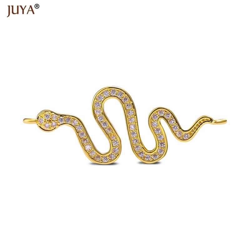 ACCESSORIES FOR JEWELRY 2018 New Design CZ Rhinestone Curved Snake Connectors Charms For Making Jewelry Findings Component