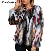 Free Ostrich Women Elegant Fur Coats Colorful Faux Fur Coat Multicolor Long Sleeve Collarless Casual Woman Winter Fur Coats N30