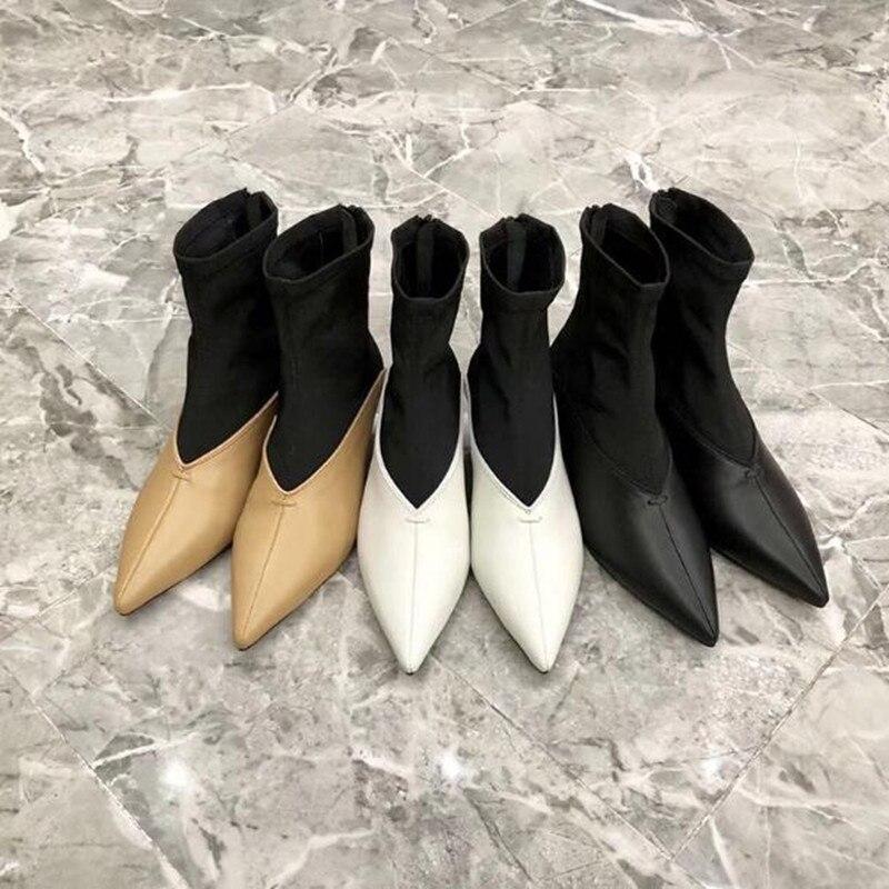 2019 nouvelles bottines à coutures pointues coniques avec des bottes en tissu élastique femmes bottines à talons hauts chaussures pour femmes bottes boty - 5