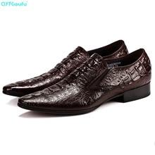 Italian Designer Mens Fashion Shoes Leather Oxford Genuine Leather Shoe Quality Luxury Crocodile Pattern Party Shoes цена 2017