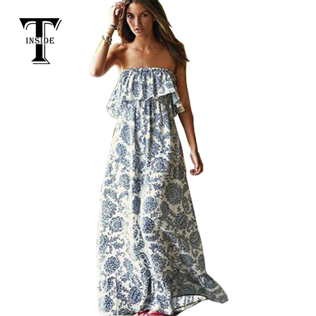 Long Summer Dress Strapless Sleeveless Chiffon Floral Maxi Dress ...
