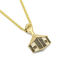 Men's Egyptian Pyramid Door Pendant Bling Rhinestone Necklace Gold Color Stainless Steel Fist Pendants Necklaces Hip hop Jewelry