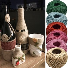 30 Meters Natural Burlap Hessian Jute Twine Cord Hemp Rope Party Wedding Gift Wrapping Cords Thread DIY Scrapbooking Craft Decor(China)