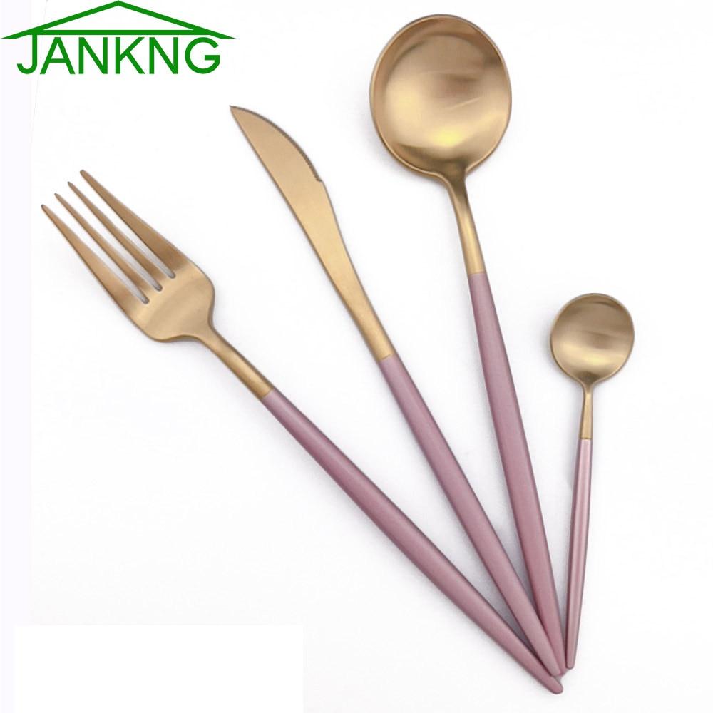 4 unids/set de vajilla de acero inoxidable de oro blanco y rosa real, cuchillo plateado, tenedor, vajilla, cubertería, regalo de Navidad Juegos de vajilla    - AliExpress