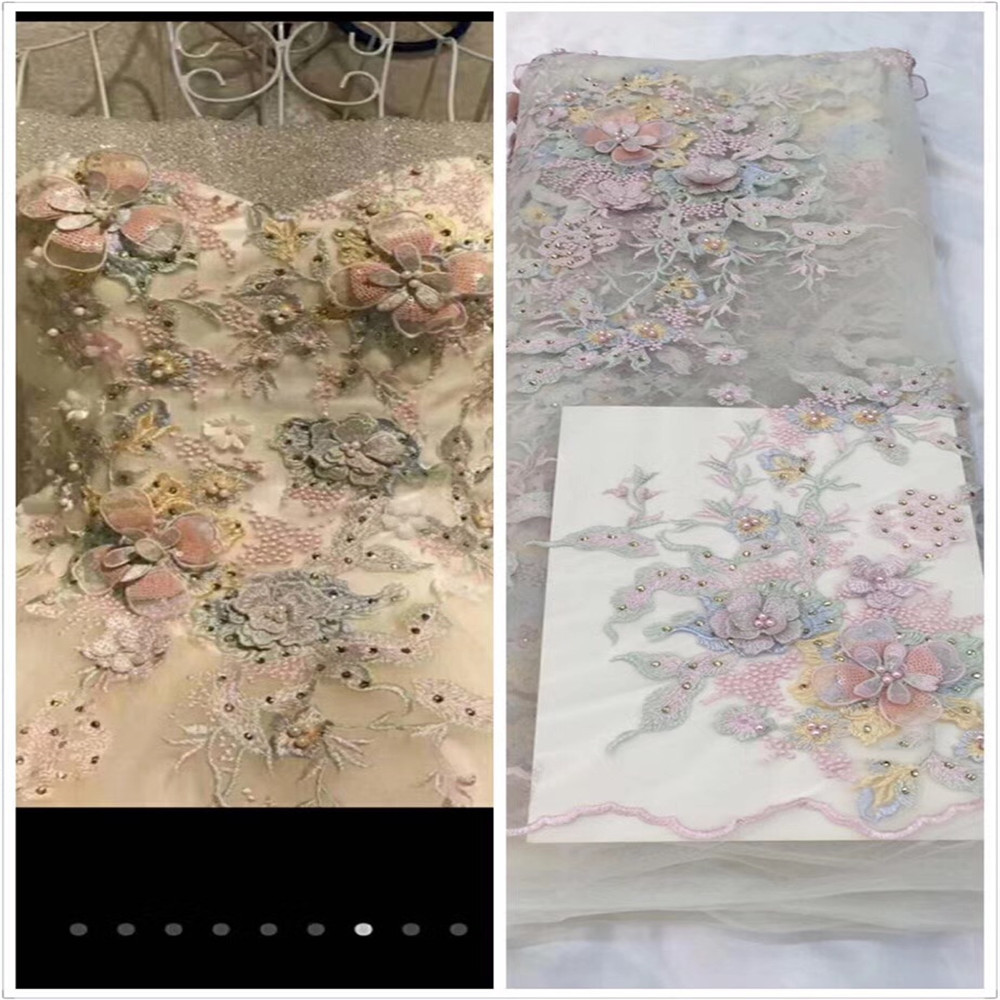 2017 Latest French net lace fabric 3D flower African tulle mesh lace fabric with beaded high