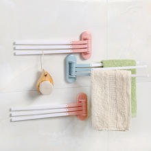 Home Storage Plastic Towel Bar Rotating Rack Bathroom Kitchen Wall-mounted Polished Holder Organizer