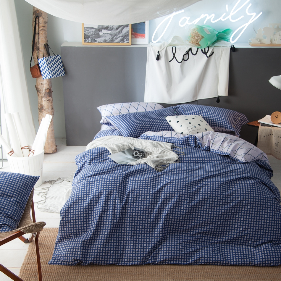 blue duvet cover set queen king size bedding set for bed sheet pillow