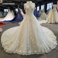 LS00320 Robe De Mariee Casamento Backless Short Sleeves Ball Gown Cathedral Train Beading Luxury Wedding Dresses