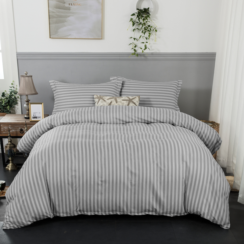 Grey stripe soft Duvet cover with pillowcase bedlinen 3pcs single queen king Size Bedding set in Bedding Sets from Home Garden