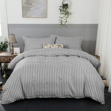 Grey stripe soft Duvet cover with pillowcase bedlinen 3pcs single queen king Size Bedding set