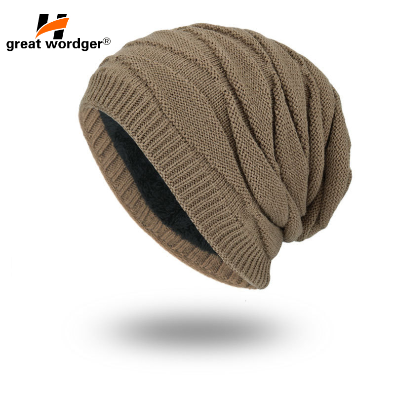 Winter Windproof Hiking Caps,Men Warm Thermal Fleece Knitted Beanies Ski Bike Motorcycle Warmer Helmet Hat