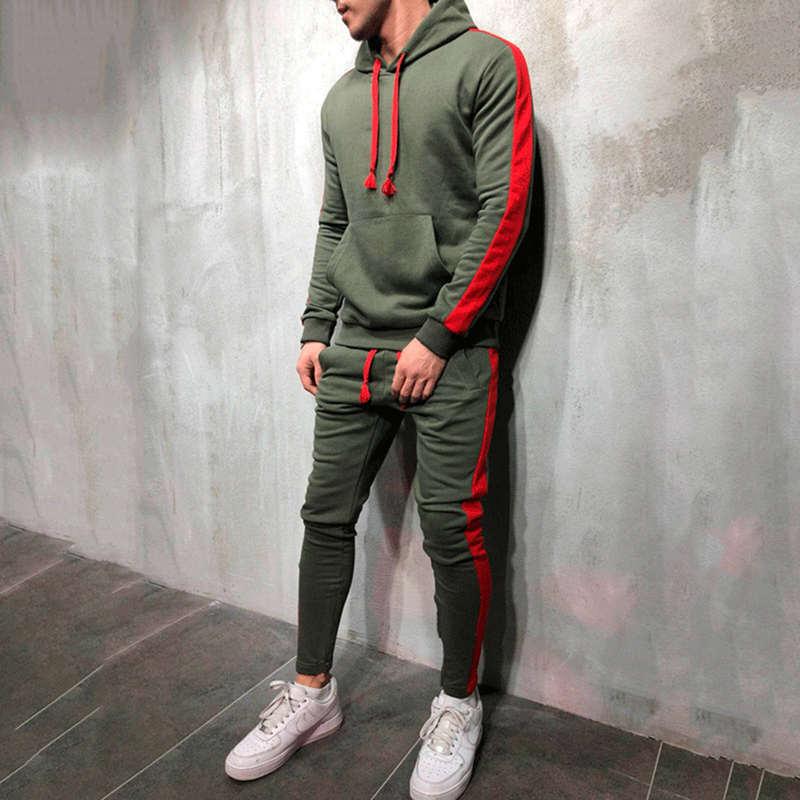 2 conjuntos de chándal para hombre nueva marca Otoño Invierno Sudadera con capucha + Pantalones con cordón macho rayas Patchwork Hoodies Bigsweety