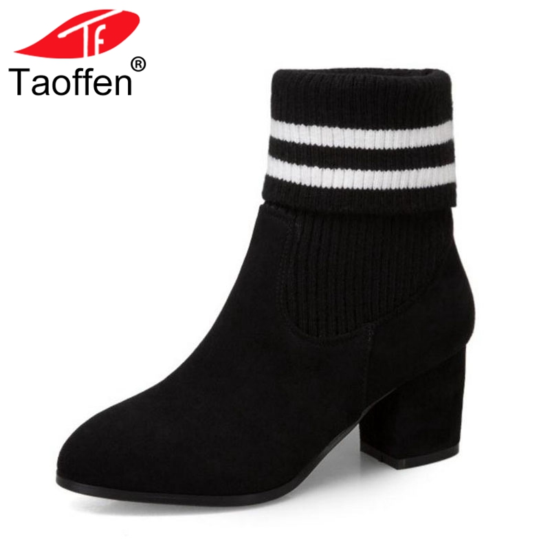 Taoffen Fashion Women High Heels Boots Striped Patchwork Warm Shoes Women Mid Calf Sock Boots Winter Fur Footwear Size 30-45 taoffen size 30 52 russia women round toe height increasing mid calf boots woman cross strap warm fur winter half shoes footwear