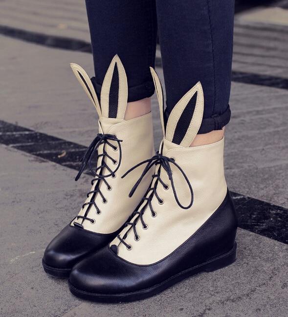 1bb4c291 Primavera otoño mujer cuero genuino aumento de la altura ascensor Lace Up  redonda Toe moda tobillo Martin botas tamaño 34-39 SXQ0818