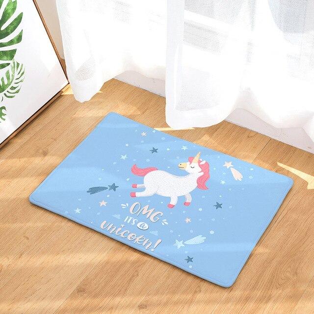 Unicorn Bagno Zerbino 50x80 cm Del Fumetto Stampato In Pelle Scamosciata Tappetini Decorazione Della Casa Bagno Wc Tappeto antiscivolo Cucina pavimento esterno Zerbino