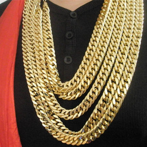 Image 4 - 24 K FINE GOLD FINISH N28 CUBAN DOUBLE CURB CHAIN SOLID HEAVY MENS CHAMPION GIFT NECKLACE 23.6 INCH 10 MM