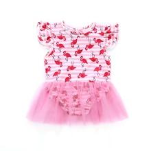 Summer Newborn Baby Girl Flamingo Swimwear Lace Up Backless Swimsuit Bathing Bodysuit Tulle Dress Beachwear Swimsuits Costume