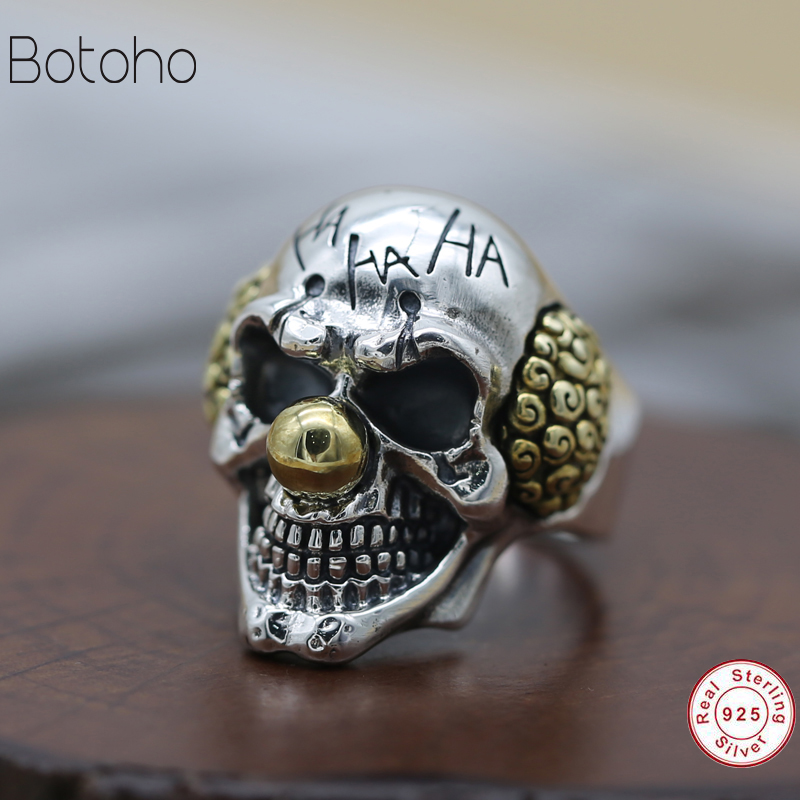 2018 925 Skull men ring Heavy punk retro cool fashion solid 925 sterling silver men riding high personality skull ring details