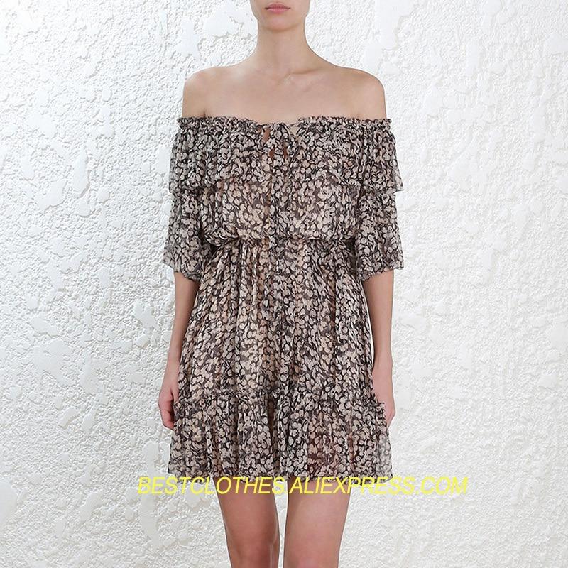 Prima Cou Sexy Cerise Mini Clear Courtes Soie Robe Imprimé Encolure D'été À Cravate Manches Robes Femmes Volantée 100 5gqC4wnxn0
