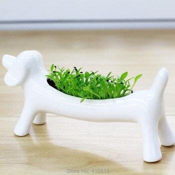 Enfeites de Animais de cerâmica Flor Vaso Pequeno Vaso de Plantas Suculentas Em Vasos Vasos Paisagem Verde Do Cão o Mini Desktop Bonsai Plantas