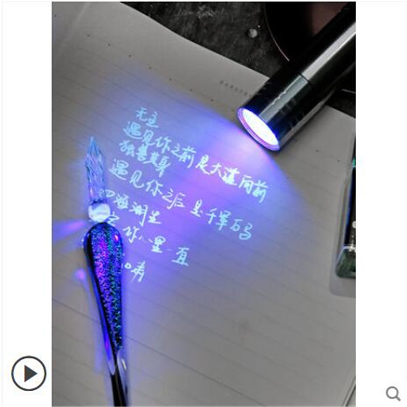 Lighthouse Invisible Ink Pen Non-Carbon Fluorescent Ink Dark Marking Creative Color Ink UV Light Set
