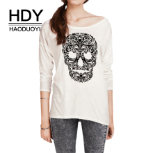 купить HDY Haoduoyi Woman Skull Print White T-shirt Casual Regular O Neck Long Sleeve T-shirt 2019 New Fashion Summer T-shirt дешево