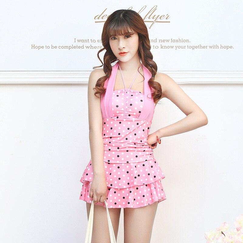 New 2015 Holiday Beachwear Dress Polka Dot Skirted Women Bathing