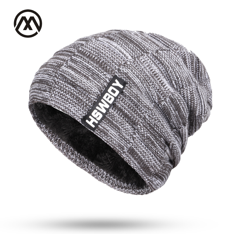Skullies New Men's Knit Plus Velvet Thick Winter Hats Warm And Comfortable Adjustable Unisex Exquisite Leather Brand Caps Beanie