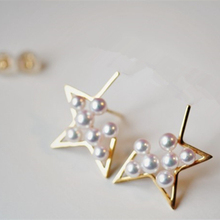 Eternal wedding Women Gift word 925 Sterling silver real Valentine's day world stars series of Japanese Akoya Pearl   earring