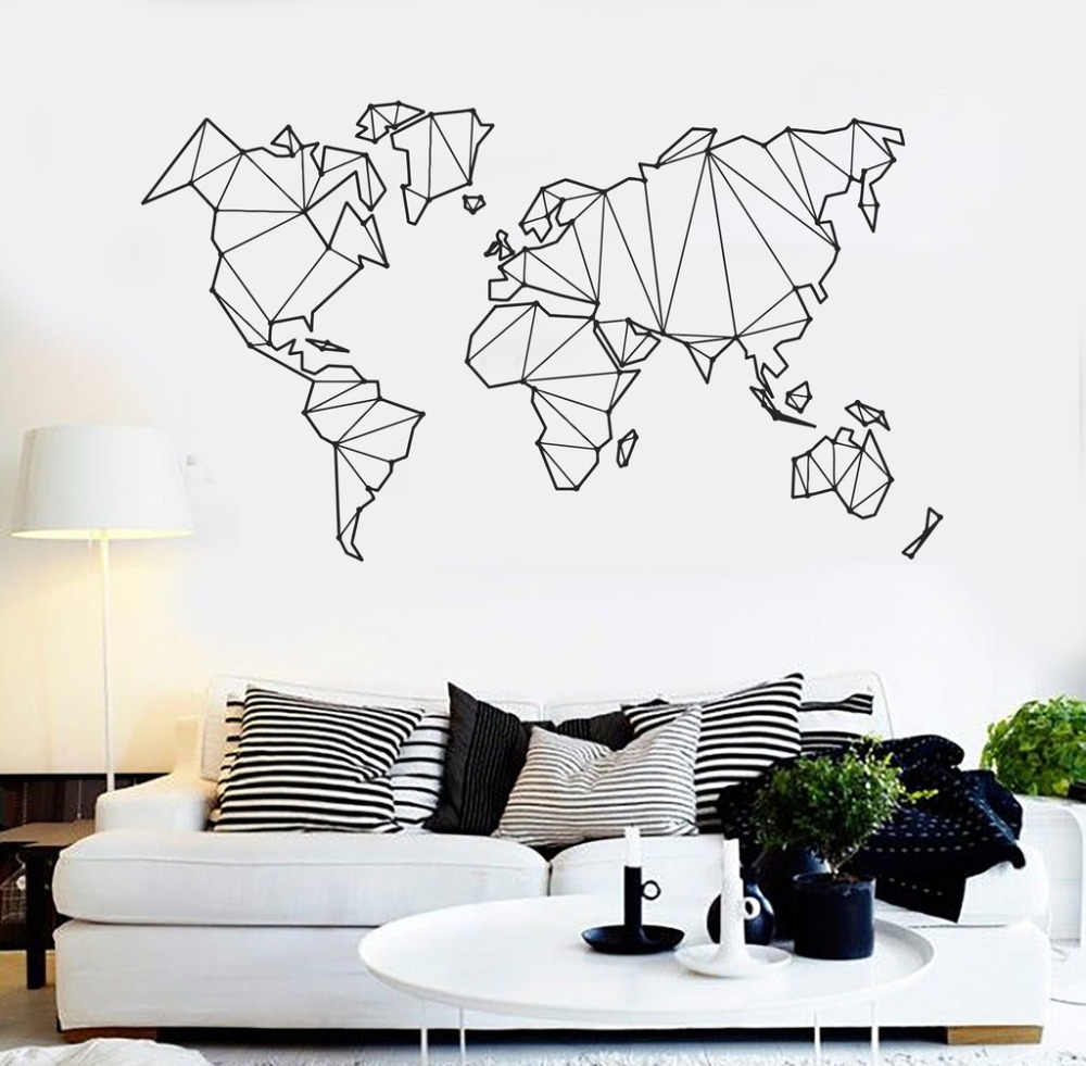 Abstract Map World Geography Wall Stickers Living Room Bedroom Removable Wall decals  Vinyl Mural Earth Sticker Home Decor