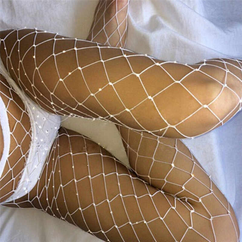 Womens sexy Fishnet Tights Mesh Pantyhose Diamond Design Ladies Rhinestone Nylon Tights Footless Fish Net Tights
