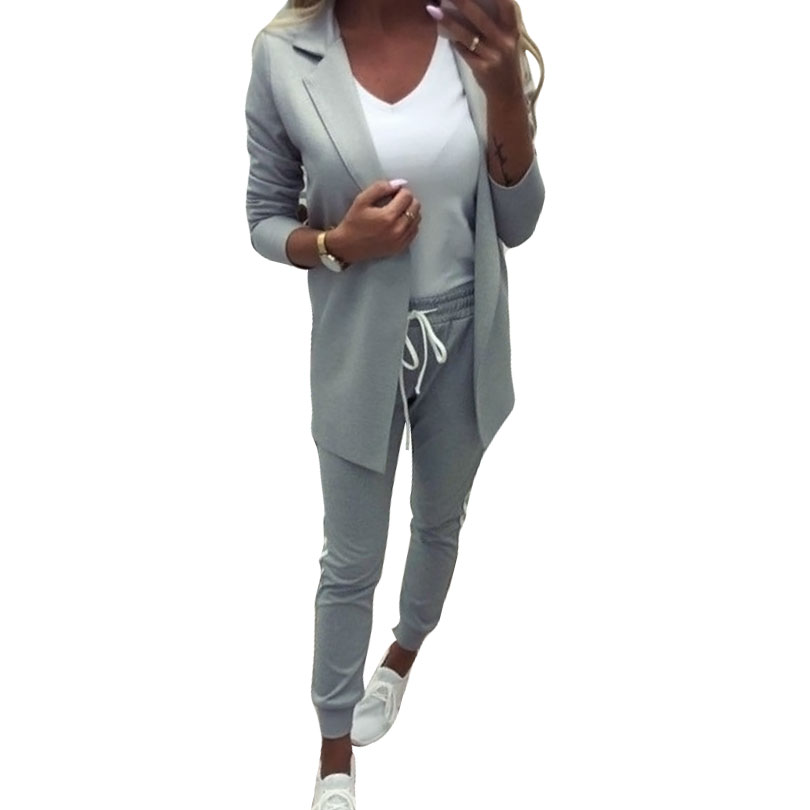 MVGIRLRU Women's Sets OL Pant Suits Turn-down Collar Buttonless Blazer Jacket+side Striped Pants 2 Piece Outfits Tracksuit