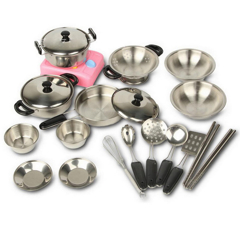 18 pcs stainless steel miniature kitchen toddler set kids for Kitchen set for 7 year old